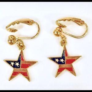 Vintage AVON Patriotic Star earrings clip on